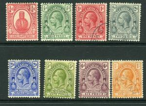 TURKS & CAICOS ISLANDS-1921  A fine used set to 1/- Sg 154-161