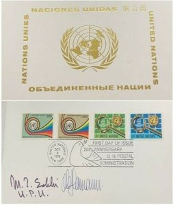 A) 1976 UNITED NATIONS, UN POSTAL ADMINISTRATION, FDC, SIGNED BY THE DIRECTOR OF