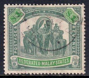 MALAYA FED. ST. — SCOTT 73 (SG 76a) — 1926 $1 ELEPHANT — FISCAL CANCEL — SCV $55
