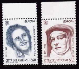Vatican City 1996 Europa  Women Dr. Gianna Molla Sister Edith Stein   VF/NH