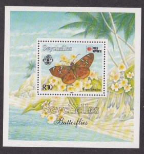 Seychelles # 729, Butterfly, Souvenir Sheet, NH, 1/2 Cat