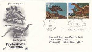 1989, Prehistoric Animals-Stegosaurus, Brontosaurus, Artcraft/PCS, FDC (E9207)