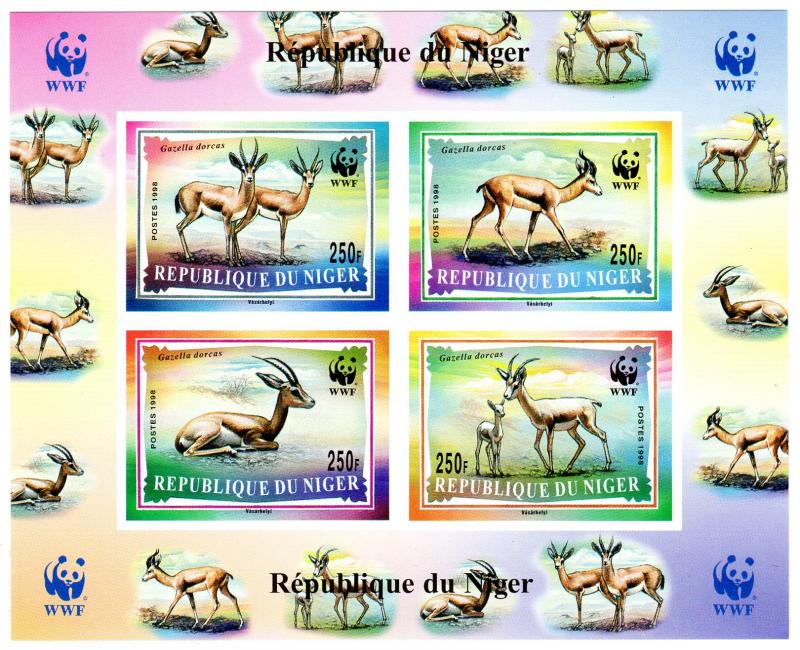 Niger 1998 Sc#986a WWF Dorcas Gazelle SS IMPERFORATED MNH VF