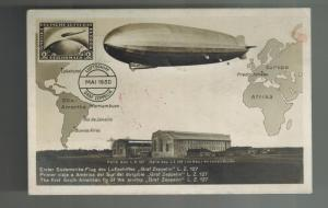 1930 Germany Graf Zeppelin South America Flight RPPC Posctard Cover # C38 to USA