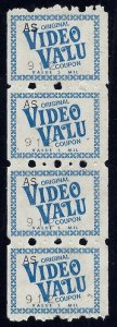 Video Valu Cinderella Savings / Trading Stamp Strip of 4 Mint NH