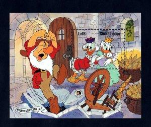 SIERRA LEONE - 1985 - DISNEY - DONALD - GRIMM - RUMPELSTILTSKIN - MINT S/SHEET!