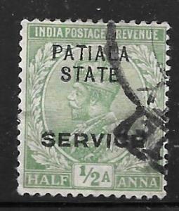 India Patiala O30: 1/2a George V, used, F