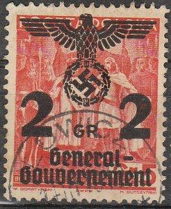 Stamp Germany Poland General Gov't Mi 017 Sc N33 1940 WWII War Era Eagle Used