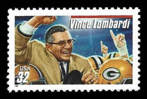 PCBstamps     US #3147 32c Vince Lombardi, extra red line, MNH, (2)