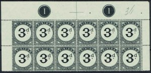 TRINIDAD 1905 POSTAGE DUE 3D PLATE 1 BLOCK */** WMK MULTI CROWN CA