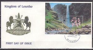 Lesotho, Scott cat. 764. Orchids s/sheet. First day Cover. ^