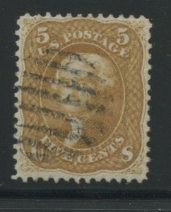 1861 US Stamp #67 5c Used VF Black Grid Cancel Catalogue Value $875