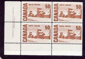 Canada-Sc#465A-Unused NH 50c Solemn Land Centennial-UR plate block #1-Dex gum-19