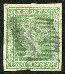 India SG31 1854 2a Pale Green Four Margins SHOWING WATERMARK