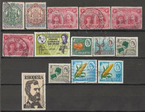COLLECTION LOT OF #1773 RHODESIA 14 MH/USED STAMPS 1896+ CLEARANCE CV+$28