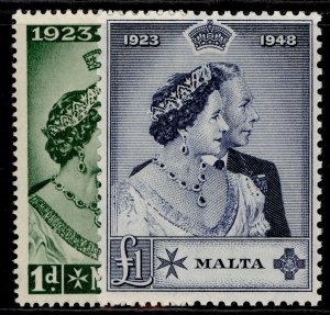 MALTA GVI SG249-250, royal silver wedding set, NH MINT. Cat £38.
