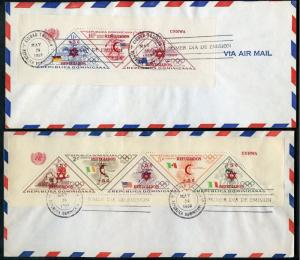 DOMINICA 1958 OLYMPIC SOUVENIR SHEETS OVPT REFUGEE SURCHARGED  FIRST DAY COVERS