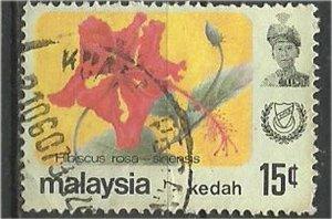 KEDAH, 1965 ,used 15c,Flowers Scott 124