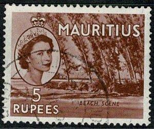 MAURITIUS QE II 1953-58 5R RED-BROWN VFU SG305 Wmk.MSCA VGC