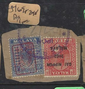 MALAYA JAPANESE OCCUPATION  NS+PERAK (PP1508B) PIECE SG J169+J248   VFU  #2