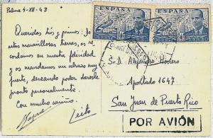 SPAIN España -  POSTAL HISTORY postcard to PUERTO RICO - de la Cierva HELICOPTER