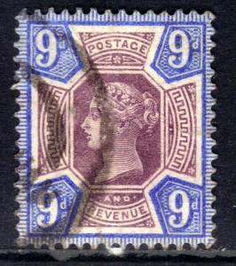 GB 1887 - 92 QV 9d Purple & Blue Jubilee fine used SG 209 ( M1394 )