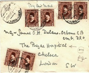 EGYPT Cover Cairo *ROYAL SCOTS FUSILIERS* GB London ROYAL HOSPITAL 1935 LS202