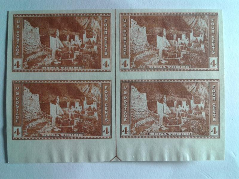 SCOTT # 759 BLOCK OF 4 WITH ARROW LINE IMPERFERATED NGAI MINT NEVER HINGED