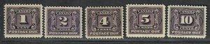 $Canada Sc#J1-J5 M/H/VF, Postage Due, complete set, Cv. $240