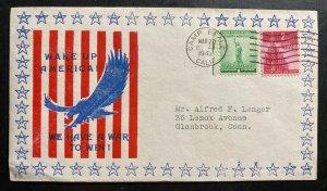 1943 Camp Beale CA USA Patriotic Cover To Glennrook CT Wake Up America