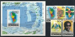 Dominica #602-7* NH  CV $7.55  Independence set & Souvenir sheet
