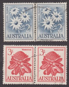 AUSTRALIA 1959 2/- Flannel Flower Pair and 3/- Waratah Pair used