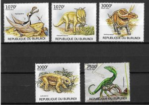 Burundi MNH Set Of 5 Dinosaurs 2012