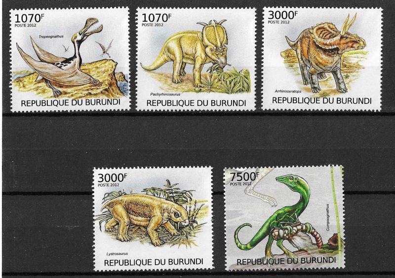 Burundi MNH Set Of 5 Dinosaurs 2012
