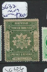 NORTH BORNEO (P2601B) $2.00 ARMS, LION SG 32 SCARCE STAMP  MOG