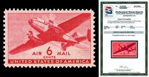 Scott C25 1941 6c Transport Airmail Issue Mint NH Graded Superb 98 with PSE CERT