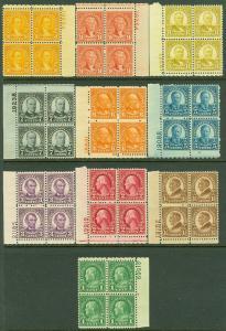 EDW1949SELL : USA 1926-34 Scott #632-35, 637-42 PBs F-VF, MNH Fresh set Cat $277