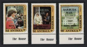 Barbuda Birth of Prince William of Wales 2nd issue 3v Bottom margins SG#632-634
