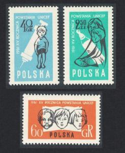 Poland 15th Anniversary of UNICEF 3v 1961 MNH SG#1264-1266