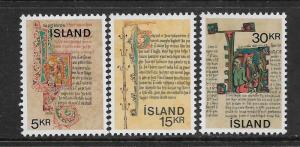 ICELAND,417-419, MNH, ICELANDIC MANUSCRIPT