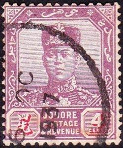 MALAYA JOHORE 1924 4c Purple & Carmine SG108 FU