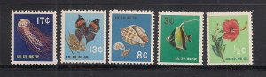 RYUKYU ISLANDS SC# 76-80   VF/MNH
