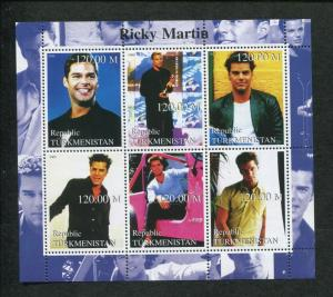 Turkmenistan Musician Ricky Martin Commemorative Souvenir Stamp Sheet