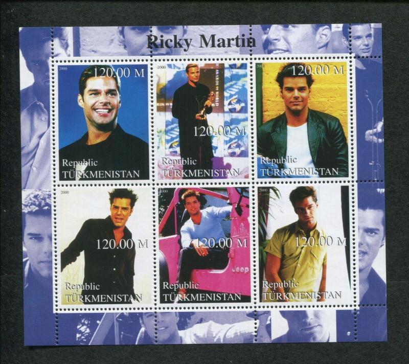 Turkmenistan Musician Ricky Martin Commemorative Souvenir Stamp Sheet