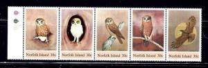Norfolk Is 343 MNH 1984 Owls strip of 5