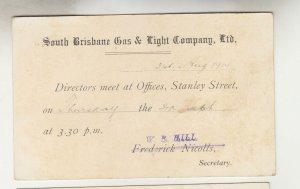 QUEENSLAND, Postal Card PTPO. 1914 1d. Red, SOUTH BRISBANE GAS, Brisbane, local.
