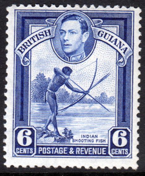British Guiana KGVI 1938 6c Deep Ultramarine SG311 Mint Never Hinged MNH UMM