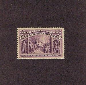 SC# 235 UNUSED OG NH, 6C COLUMBUS AT BARCELONA, 1893, 2020 PSAG CERT GRADE 80 VF