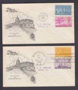 US Sc E17, E18 FDCs. 1944 13c & 17c Special Delivery, matched unknown cachets
