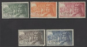 SPAIN SG1166/70 1951 STAMP DAY & 5th CENTENARY OF BIRTH OF ISABELLA MNH